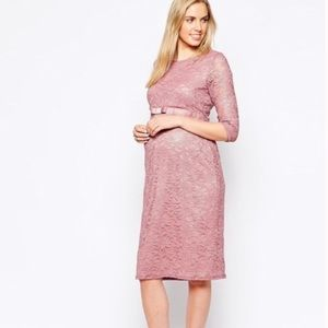 ASOS • Maternity Lacy Pink Mocktail Dress